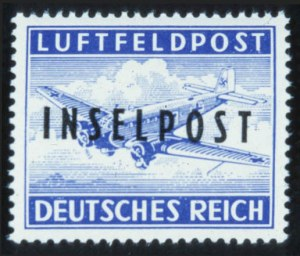 "Sale Number 632, Lot Number 562, General Foreign-----, 1944, Ultramarine, ""Inselpost"" Overprint, Perforated (Michel 8A), -----, 1944, Ultramarine, ""Inselpost"" Overprint, Perforated (Michel 8A)"