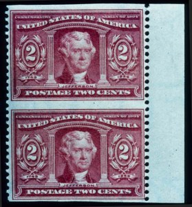 Sale Number 645, Lot Number 272, 20th Century up to 1922 Issue2c Louisiana Purchase, Vertical Pair Imperforate Horizontally (324a), 2c Louisiana Purchase, Vertical Pair Imperforate Horizontally (324a)