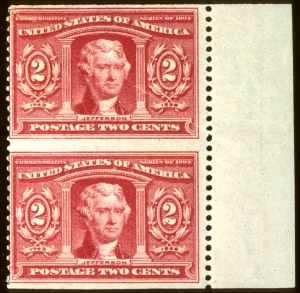 Sale Number 660, Lot Number 230, 20th Century up to 1922 Issue2c Louisiana Purchase, Vertical Pair Imperforate Horizontally (324a), 2c Louisiana Purchase, Vertical Pair Imperforate Horizontally (324a)