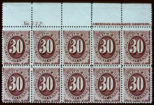 Sale Number 679, Lot Number 356, Special Delivery thru Offices in China30c Red Brown (J20). Mint Top Imprint and Plate No, 30c Red Brown (J20). Mint Top Imprint and Plate No