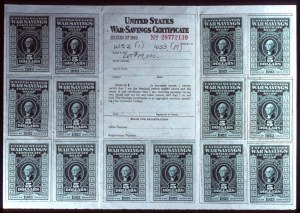 Sale Number 692, Lot Number 476, Revenues$5.00 Deep Green, War Savings, Rouletted (WS3), $5.00 Deep Green, War Savings, Rouletted (WS3)