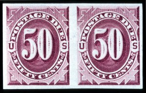 Sale Number 708, Lot Number 421, Special Delivery thru Officials1c-50c Bright Claret, Imperforate (J22a-J28a), 1c-50c Bright Claret, Imperforate (J22a-J28a)