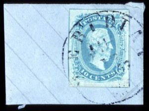 Sale Number 708, Lot Number 463, Confederate States10c Milky Blue, Frame Line (10a), 10c Milky Blue, Frame Line (10a)