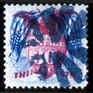 Sale Number 724, Lot Number 174, 1869 Pictorial Issue30c Blue & Carmine, Flags Inverted (121b), 30c Blue & Carmine, Flags Inverted (121b)