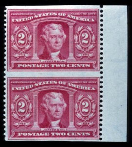 Sale Number 724, Lot Number 312, Later Issues2c La. Purchase, Vert. Pair, Imperforate Horizontally (324a), 2c La. Purchase, Vert. Pair, Imperforate Horizontally (324a)