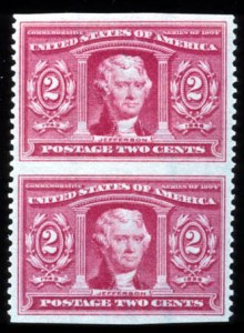 Sale Number 724, Lot Number 313, Later Issues2c Louisiana Purchase, Vertical Pair Imperforate. Horizontally (324a), 2c Louisiana Purchase, Vertical Pair Imperforate. Horizontally (324a)