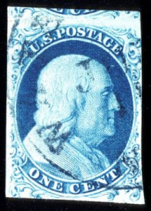 Sale Number 724, Lot Number 41, 1851-56 Issue1c Blue, Ty. la (6), 1c Blue, Ty. la (6)