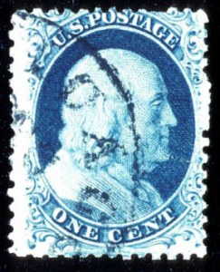 Sale Number 724, Lot Number 43, 1851-56 Issue1c Blue, Ty. II, Position 41L2, Chicago Private Perf. (7 var), 1c Blue, Ty. II, Position 41L2, Chicago Private Perf. (7 var)