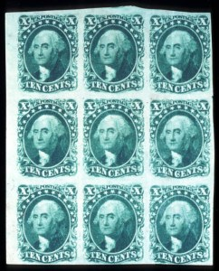 Sale Number 724, Lot Number 63, 1851-56 Issue10c Green, Ty. II, III (14, 15), 10c Green, Ty. II, III (14, 15)