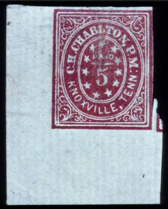 Sale Number 737, Lot Number 763, Confederate StatesKnoxville, 5c Carmine (47X2), Knoxville, 5c Carmine (47X2)