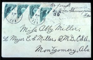 Sale Number 737, Lot Number 796, Confederate States20c Green, Four Diagonal Bisects (13c), 20c Green, Four Diagonal Bisects (13c)