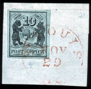 Sale Number 745, Lot Number 291, Postmasters ProvisionalsSt. Louis, Mo., 10c Black on Greenish (11X2), St. Louis, Mo., 10c Black on Greenish (11X2)