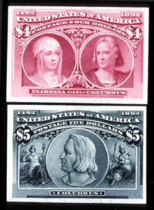 Sale Number 745, Lot Number 654, Columbian Issue1c-$5.00 Columbian, Plate Proofs on Card (230P4-245P4), 1c-$5.00 Columbian, Plate Proofs on Card (230P4-245P4)