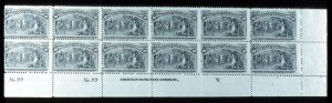 "Sale Number 745, Lot Number 660, Columbian Issue10c Columbian (237). Bottom Right Imprint, ""Y"" and Double Plate No. 97 Block of Twelve, Original Gum, Six Stamps Mint, small h.r. on others, T.R. stamp small thin, Fine Plate No, 10c Columbian (237). Bottom Right Imprint, ""Y"" and Double Plate No. 97 Block of Twelve, Original Gum, Six Stamps Mint, small h.r. on others, T.R. stamp small thin, Fine Plate No"