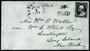 Sale Number 754, Lot Number 10, C.S.A. Postal System from June 1, 1861Baton Rouge La. Jun. 1, 1861. First Day of the Confederate Postal System, Baton Rouge La. Jun. 1, 1861. First Day of the Confederate Postal System
