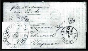 Sale Number 754, Lot Number 13, C.S.A. Postal System from June 1, 1861London to Richmond Va, London to Richmond Va