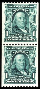 Sale Number 755, Lot Number 250, 1902-08 Issue1c Blue Green, Coil (316), 1c Blue Green, Coil (316)