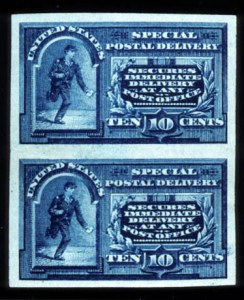 Sale Number 755, Lot Number 298, Special Delivery thru Officials10c Blue, Special Delivery, Imperforate (E4a), 10c Blue, Special Delivery, Imperforate (E4a)