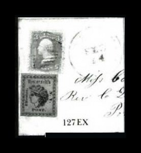 Sale Number 761, Lot Number 127, Carriers and Local Posts incl. 3c 1861 IssueWestervelt's Post, (1c) Red on Pink (144L9), Westervelt's Post, (1c) Red on Pink (144L9)