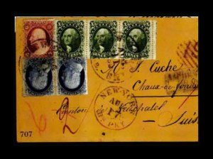 Sale Number 761, Lot Number 707, 1851-56 and 1857-60 Issue Covers10c Green, Ty. V (35), 10c Green, Ty. V (35)