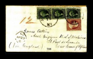Sale Number 761, Lot Number 708, 1851-56 and 1857-60 Issue Covers10c Green, Ty. V, 3c Dull Red (35, 26), 10c Green, Ty. V, 3c Dull Red (35, 26)