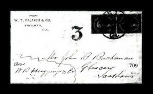 Sale Number 761, Lot Number 709, 1851-56 and 1857-60 Issue Covers12c Black (36), 12c Black (36)