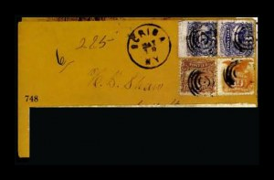 Sale Number 761, Lot Number 748, 1861-68 and 1869 Pictorial Issue Covers2c Brown, 3c Ultramarine, 10c Yellow (113, 114, two; 116), 2c Brown, 3c Ultramarine, 10c Yellow (113, 114, two; 116)