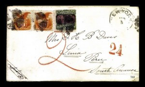 Sale Number 761, Lot Number 762, 1861-68 and 1869 Pictorial Issue Covers24e Green & Violet, 10e Yellow (120, 116 pair), 24e Green & Violet, 10e Yellow (120, 116 pair)