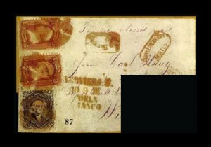 Sale Number 761, Lot Number 87, 3c 1861-68 Issues24c Lilac, 3c Rose, F. Grill (78, 94 pair), 24c Lilac, 3c Rose, F. Grill (78, 94 pair)