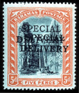 Sale Number 767, Lot Number 445, General ForeignBAHAMAS, 1916, 5p Special Delivery, Double Overprint (E1a, SG S1a), BAHAMAS, 1916, 5p Special Delivery, Double Overprint (E1a, SG S1a)