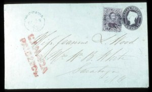 Sale Number 767, Lot Number 450B, General ForeignCANADA, 1860, 10c Dark Brown, Nesbitt Entire (U2), CANADA, 1860, 10c Dark Brown, Nesbitt Entire (U2)