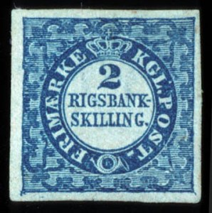 Sale Number 767, Lot Number 457, General ForeignDENMARK, 1851, 2rs Blue (1, Facit 1II), DENMARK, 1851, 2rs Blue (1, Facit 1II)