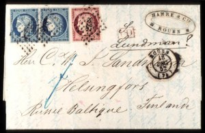 Sale Number 767, Lot Number 463, General ForeignFRANCE, 1849, 1fr Dark Carmine, 25c Blue, Ceres (9, 6 pair), FRANCE, 1849, 1fr Dark Carmine, 25c Blue, Ceres (9, 6 pair)
