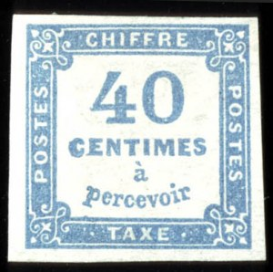 Sale Number 767, Lot Number 465, General ForeignFRANCE, 1859, 40c Ultramarine, Postage Due (J8a), FRANCE, 1859, 40c Ultramarine, Postage Due (J8a)