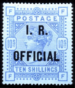 Sale Number 767, Lot Number 469, General ForeignGREAT BRITAIN, 1890, 10sh Ultramarine, I.R. Official (O9, SG O10), GREAT BRITAIN, 1890, 10sh Ultramarine, I.R. Official (O9, SG O10)