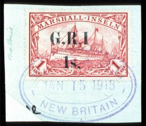 "Sale Number 767, Lot Number 472, General ForeignNEW BRITAIN, 1914, 1sh on 1m G.R.I. Surcharge, No Period After ""I"" (39c, SG 59a), NEW BRITAIN, 1914, 1sh on 1m G.R.I. Surcharge, No Period After ""I"" (39c, SG 59a)"