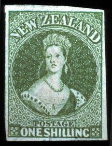 Sale Number 767, Lot Number 475A, General ForeignNEW ZEALAND, 1855, 1sh Yellow Green on Blued Paper (3, SG 3), NEW ZEALAND, 1855, 1sh Yellow Green on Blued Paper (3, SG 3)