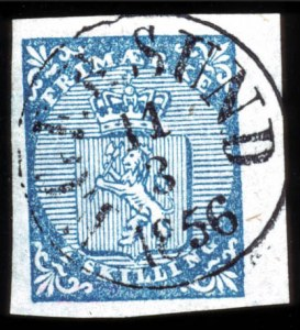 "Sale Number 767, Lot Number 477, General ForeignNORWAY, 1855, 4s Blue ""Double Foot"" (1a), NORWAY, 1855, 4s Blue ""Double Foot"" (1a)"