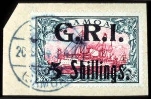 Sale Number 767, Lot Number 485, General ForeignSAMOA, 1914, 5sh on 5m G.R.I. Surcharge (113, SG 114), SAMOA, 1914, 5sh on 5m G.R.I. Surcharge (113, SG 114)