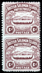 Sale Number 767, Lot Number 487, General ForeignSOLOMON ISLANDS, 1907, 6p Chocolate, Vertical Pair, Imperforate Between (6a, SG 6a), SOLOMON ISLANDS, 1907, 6p Chocolate, Vertical Pair, Imperforate Between (6a, SG 6a)