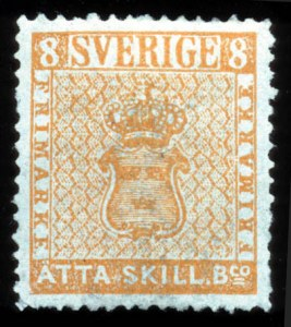 Sale Number 767, Lot Number 492, General ForeignSWEDEN, 1855, 8s Orange (1, Facit 4a), SWEDEN, 1855, 8s Orange (1, Facit 4a)