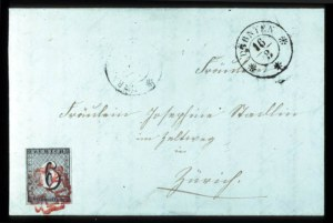 Sale Number 767, Lot Number 502, General ForeignSWITZERLAND, Zurich, 1843, 6r Black (1L2), SWITZERLAND, Zurich, 1843, 6r Black (1L2)
