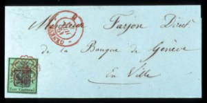 Sale Number 767, Lot Number 503, General ForeignSWITZERLAND, Geneva, 1847, 5c Yellow Green (2L3), SWITZERLAND, Geneva, 1847, 5c Yellow Green (2L3)