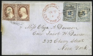 Sale Number 769, Lot Number 9, Hawaiian Missionaries and U.S. Stamps Mixed Franking Covers1851, 2c Blue (1) and 5c Blue (2), 1851, 2c Blue (1) and 5c Blue (2)