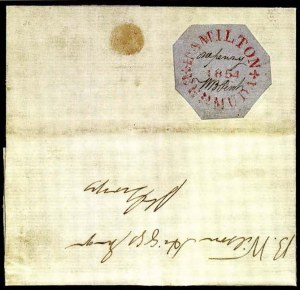 Sale Number 776, Lot Number 11, BermudaBERMUDA, William B. Perot, 1854, 1p Red on Bluish Wove Paper (X2; SG O4), BERMUDA, William B. Perot, 1854, 1p Red on Bluish Wove Paper (X2; SG O4)