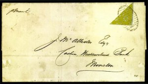 Sale Number 776, Lot Number 42, New BrunswickNEW BRUNSWICK, 1851, 6p Yellow, Half Used as 3p (2b; SG 4a), NEW BRUNSWICK, 1851, 6p Yellow, Half Used as 3p (2b; SG 4a)