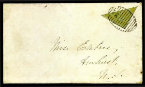 Sale Number 776, Lot Number 43, New BrunswickNEW BRUNSWICK, 1851, 6p Yellow, Half Used as 3p (2b; SG 4a), NEW BRUNSWICK, 1851, 6p Yellow, Half Used as 3p (2b; SG 4a)