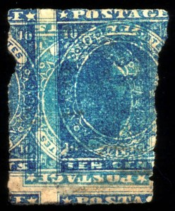 Sale Number 777, Lot Number 232, Confederate States10c Blue, Paterson, Printed on Both Sides (2d), 10c Blue, Paterson, Printed on Both Sides (2d)