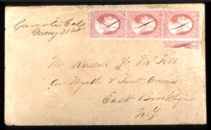 Sale Number 777, Lot Number 48, 1851-56 Issue3c Yellowish Rose Red, Vertical One-Third Used as 1c (11c), 3c Yellowish Rose Red, Vertical One-Third Used as 1c (11c)