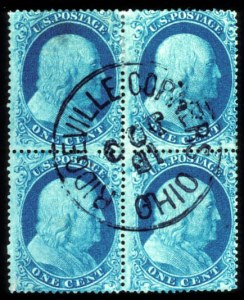Sale Number 777, Lot Number 54, 1857-60 Issue1c Blue, Ty. I, II (18, 20), 1c Blue, Ty. I, II (18, 20)